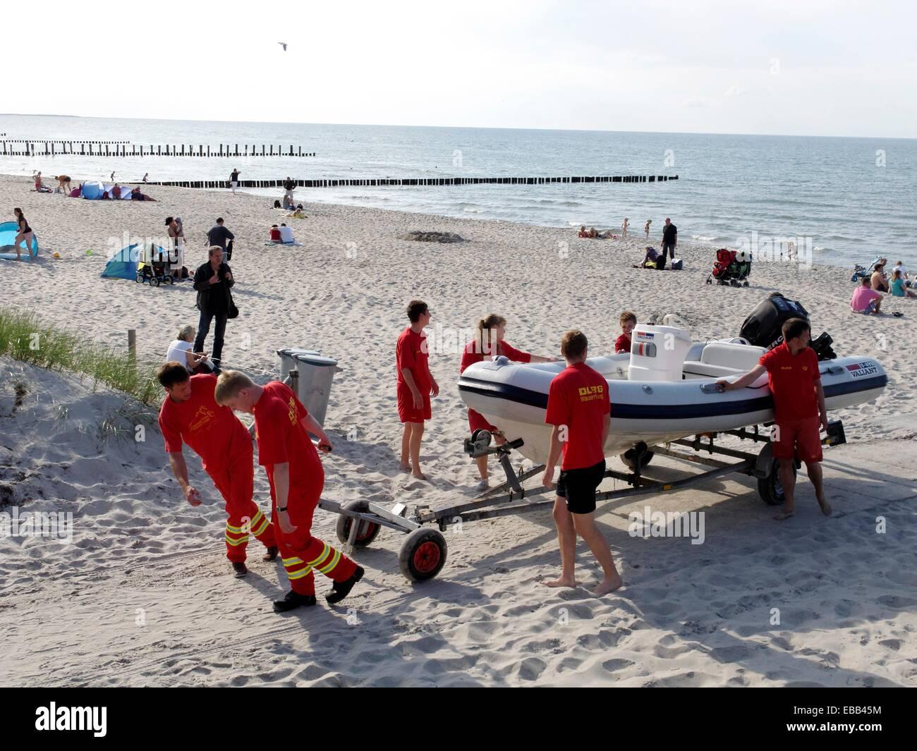 Baltic Sea beach between boat body of water breakwater city coast coastal coastline color image day easternmost - Stock Image