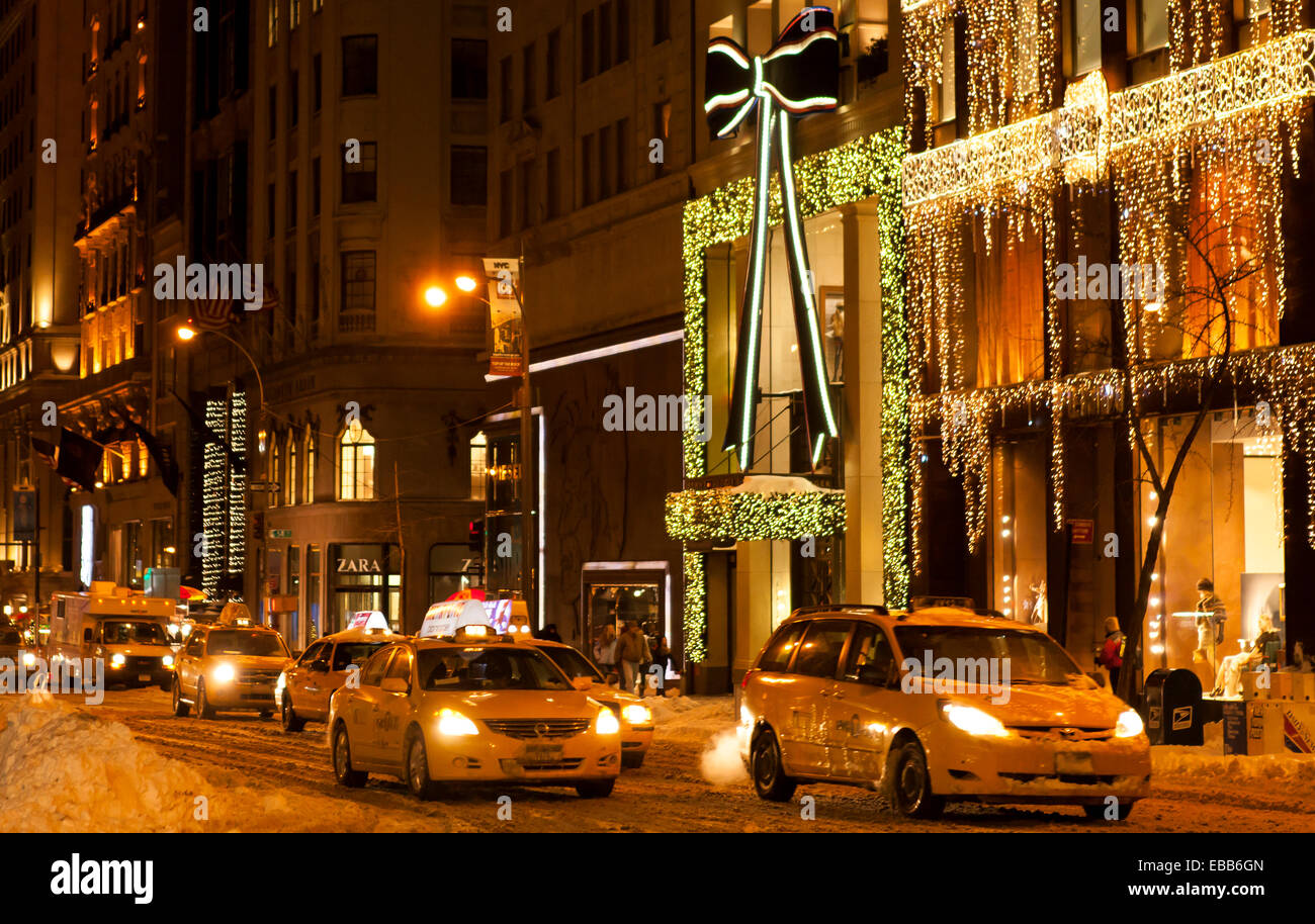 New York City, USA - December 27, 2010: 5th Avenue transforms into on ocean of lights and joy during the Winter Holidays. Stock Photo