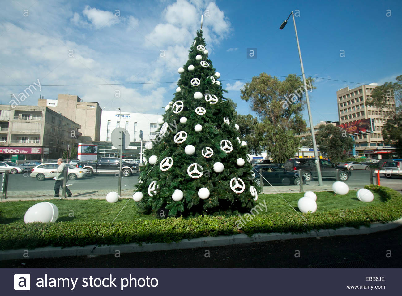 beirut lebanon 28th november 2014 a christmas tree decorated with mercedes benz signs outside