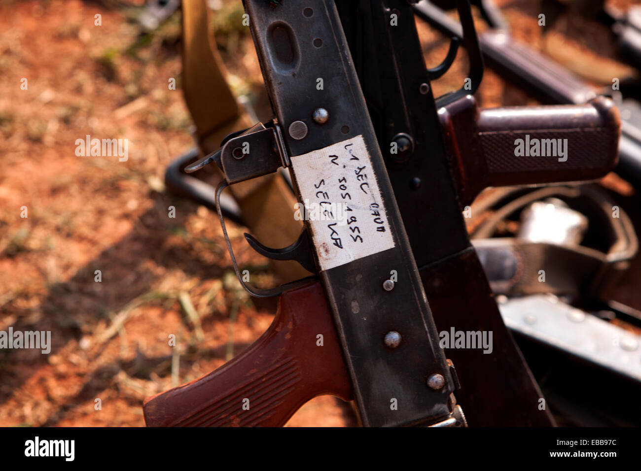 Machine gun confiscated from Seleka forces by French troops in Bangui, Central African Republic - Stock Image