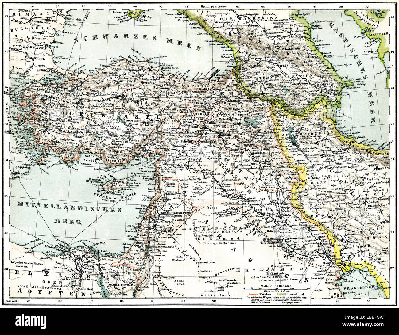 Historic map of Western Asia, c. 1880, historische Karte von Stock ...