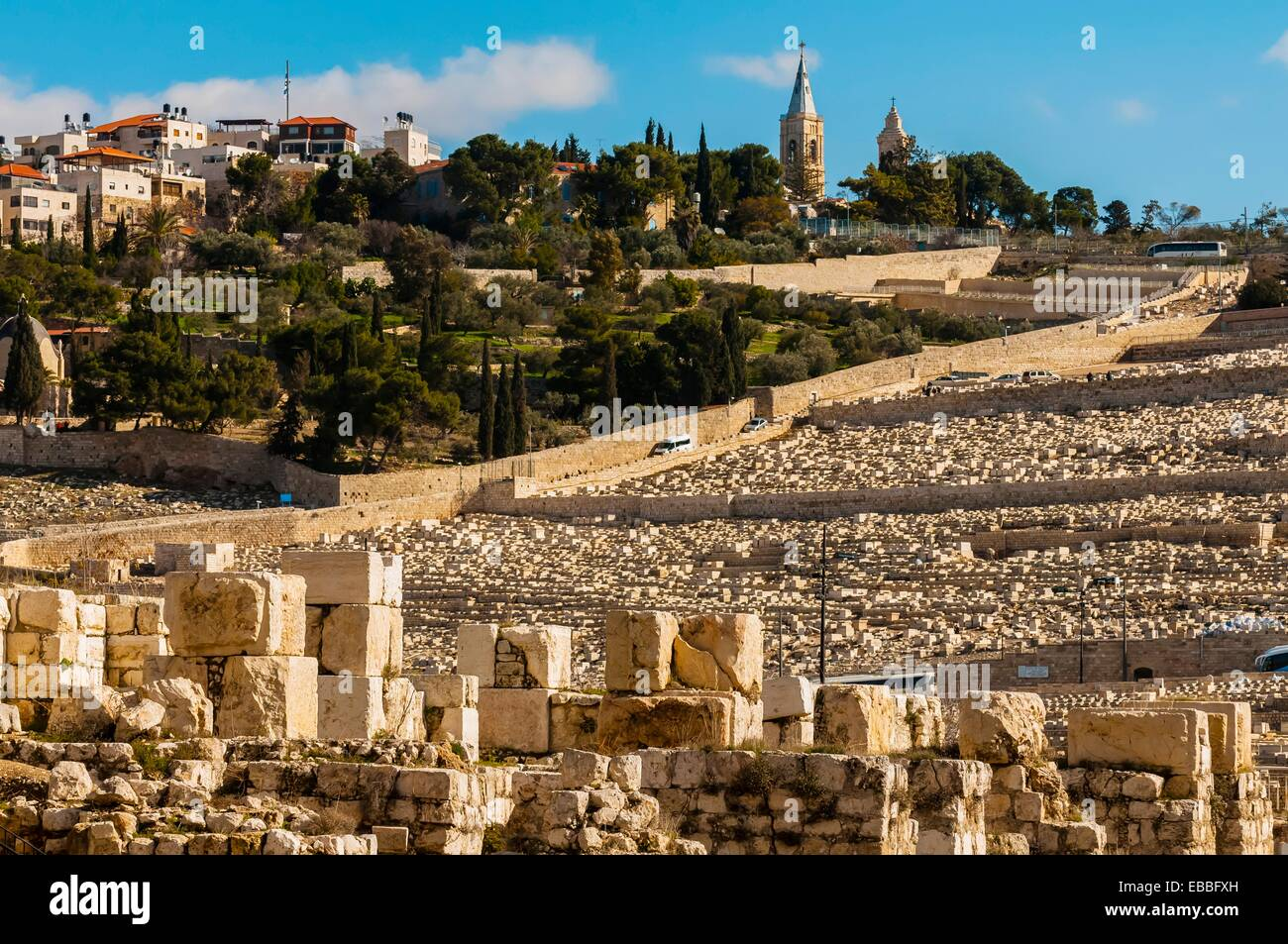 150,000 graves, Jewish Cemetery on Mout of Olives, Jerusalem, Israel Stock Photo