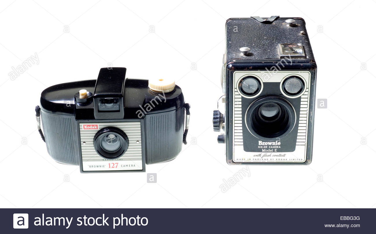 Kodak 'Brownie' cameras. A '127' film size from the 1950's and a '620' film size Box - Stock Image