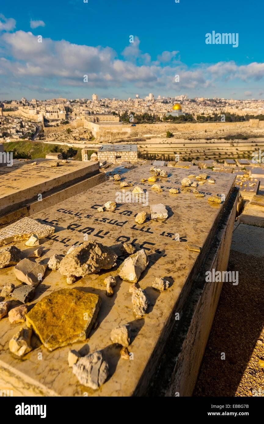 150 after Al-Aqsa backgrounds building cemetery color image digital Dome of the Rock Grave gravestone Israel Jerusalem - Stock Image