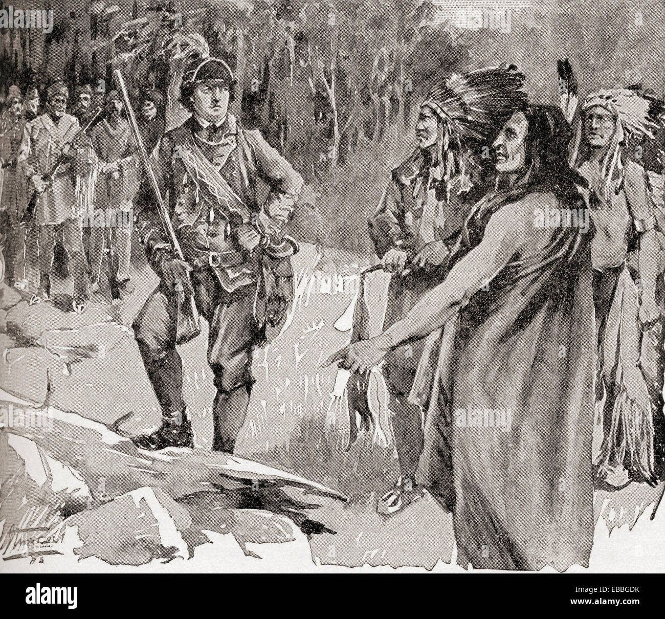 The meeting between Major Rogers and Chief Pontiac in 1760. - Stock Image