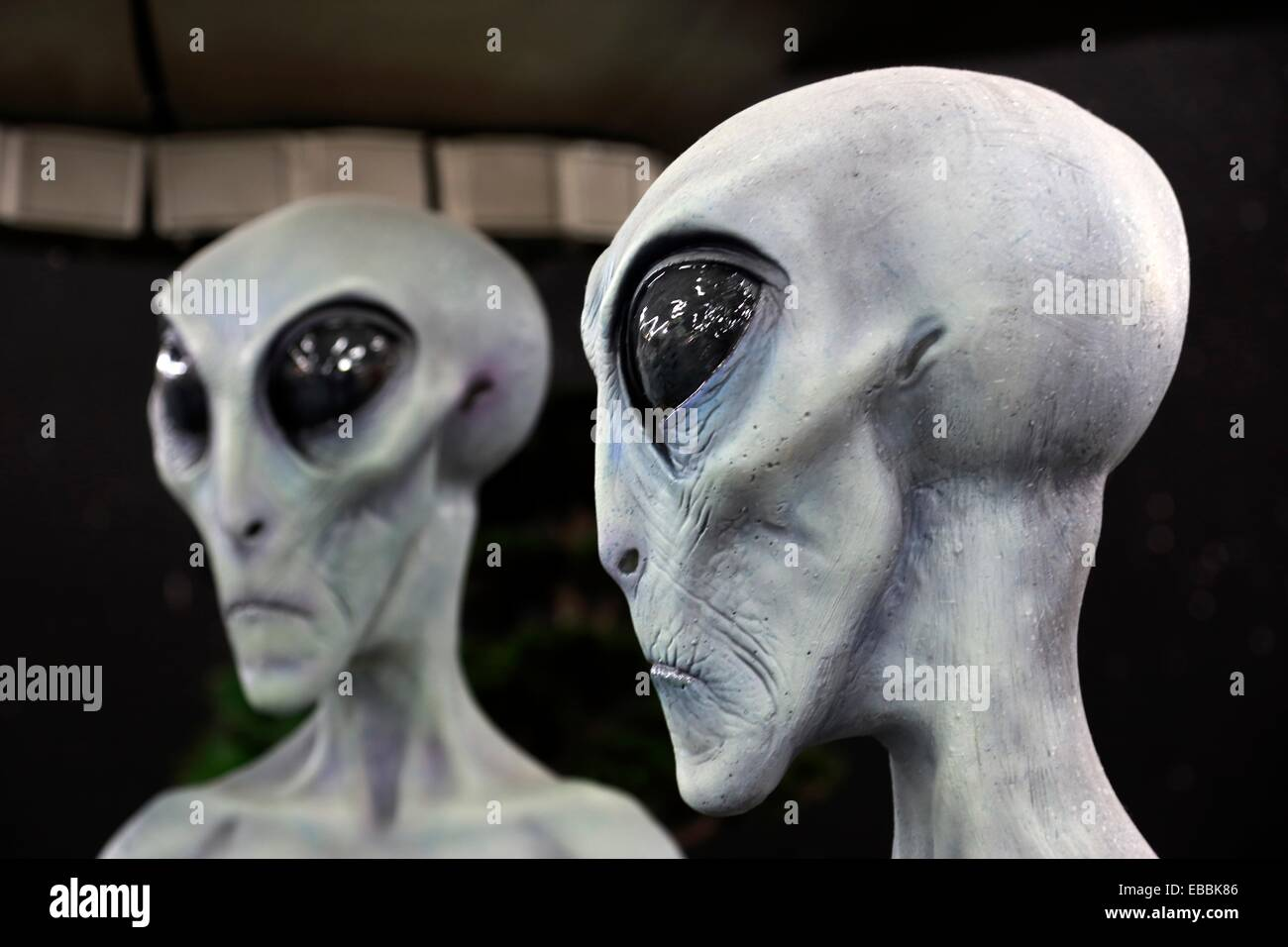 Aliens mannequins display in International UFO Museum and Research Center. Roswell. New Mexico. USA - Stock Image