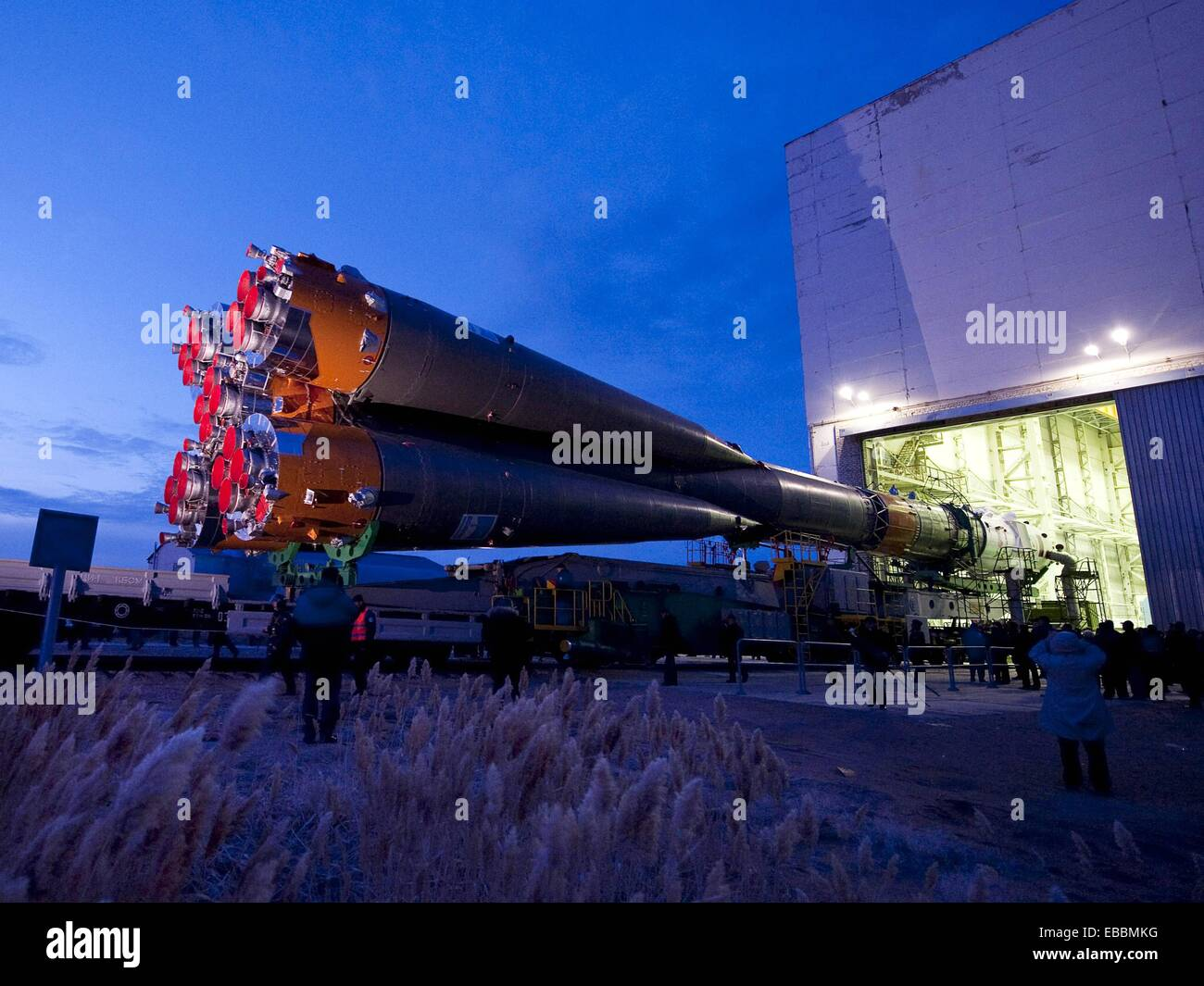 Expedition 23 Soyuz Rollout The Soyuz TMA-18 spacecraft arrived by train to the launch pad at the Baikonur Cosmodrome, - Stock Image