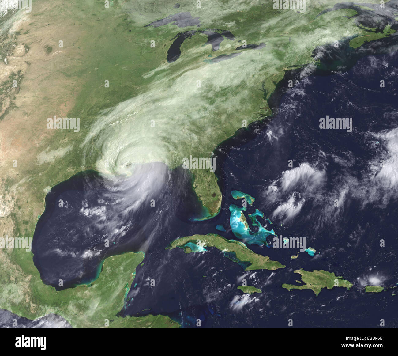 Hurricane Katrina moved ashore over southeast Louisiana and southern Mississippi early on August 29, 2005, as an - Stock Image