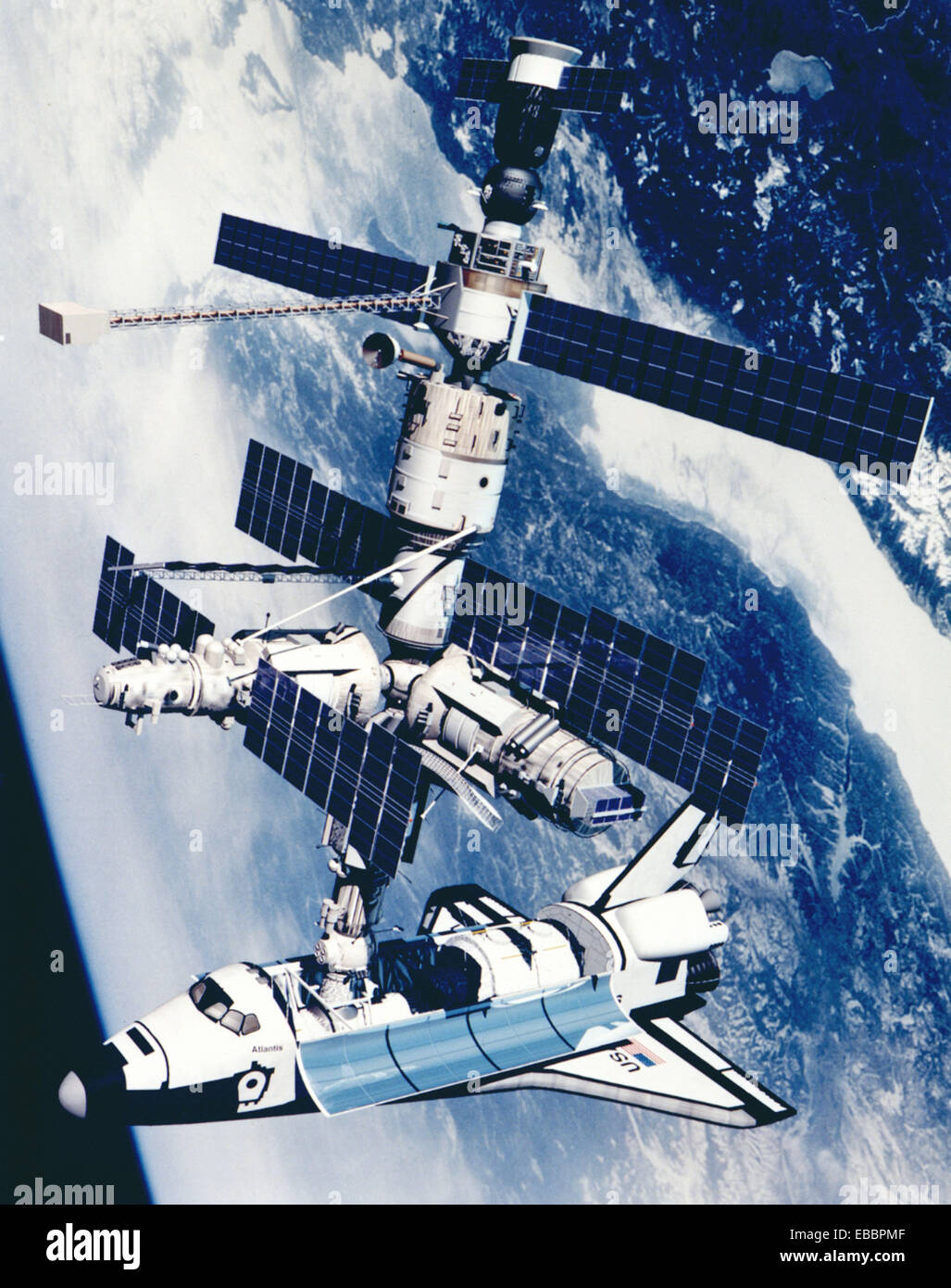 Technical Rendition of STS-71 docked to Mir. Shown is a technical rendition of the Space Shuttle Atlantis docked - Stock Image