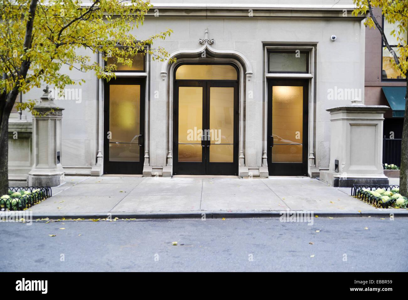 Soft Light Seen Through the Doors of a Townhouse Manhattan New York City. - Stock Image