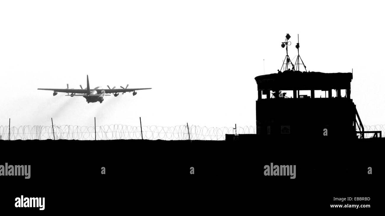 DJIBOUTI, Africa (April 4, 2007) - An HC-130P takes off from Camp Lemonier in support of the Combined Joint Task - Stock Image