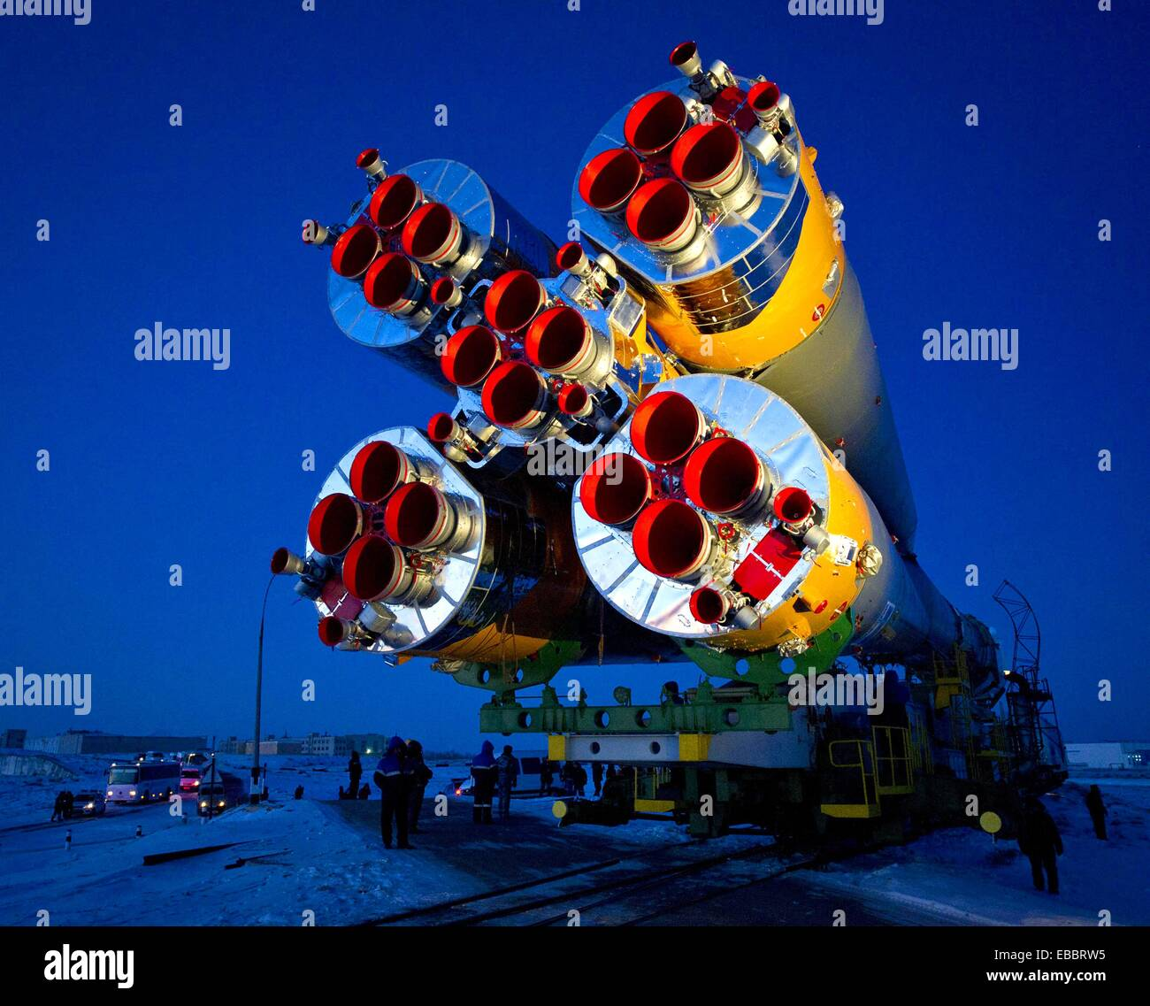 The Soyuz TMA-03M spacecraft is rolled out by train on its way to the launch pad at the Baikonur Cosmodrome, Kazakhstan, - Stock Image