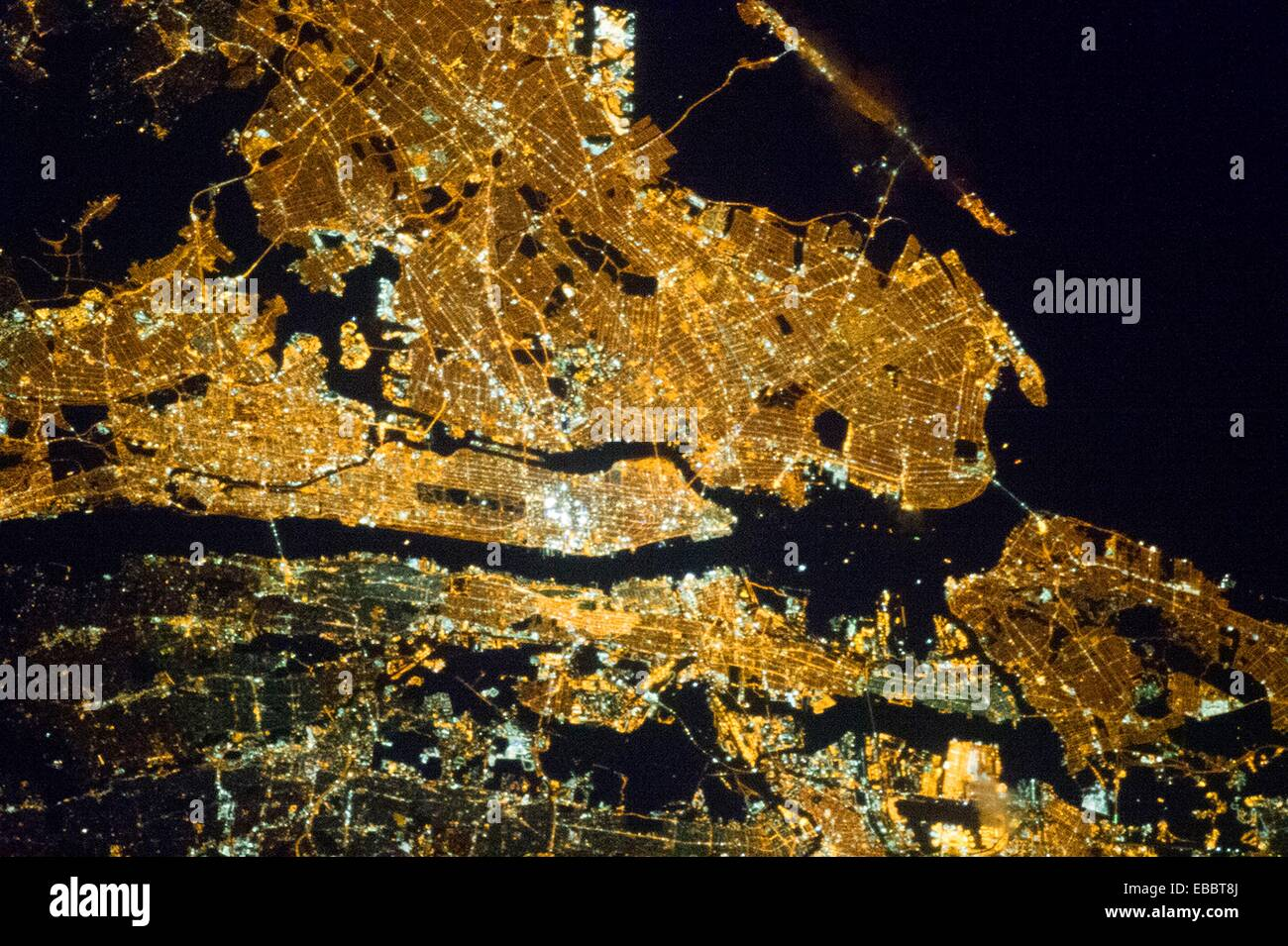 New York City at Night. One of the Expedition 35 crew members aboard the Earth-orbiting International Space Station Stock Photo