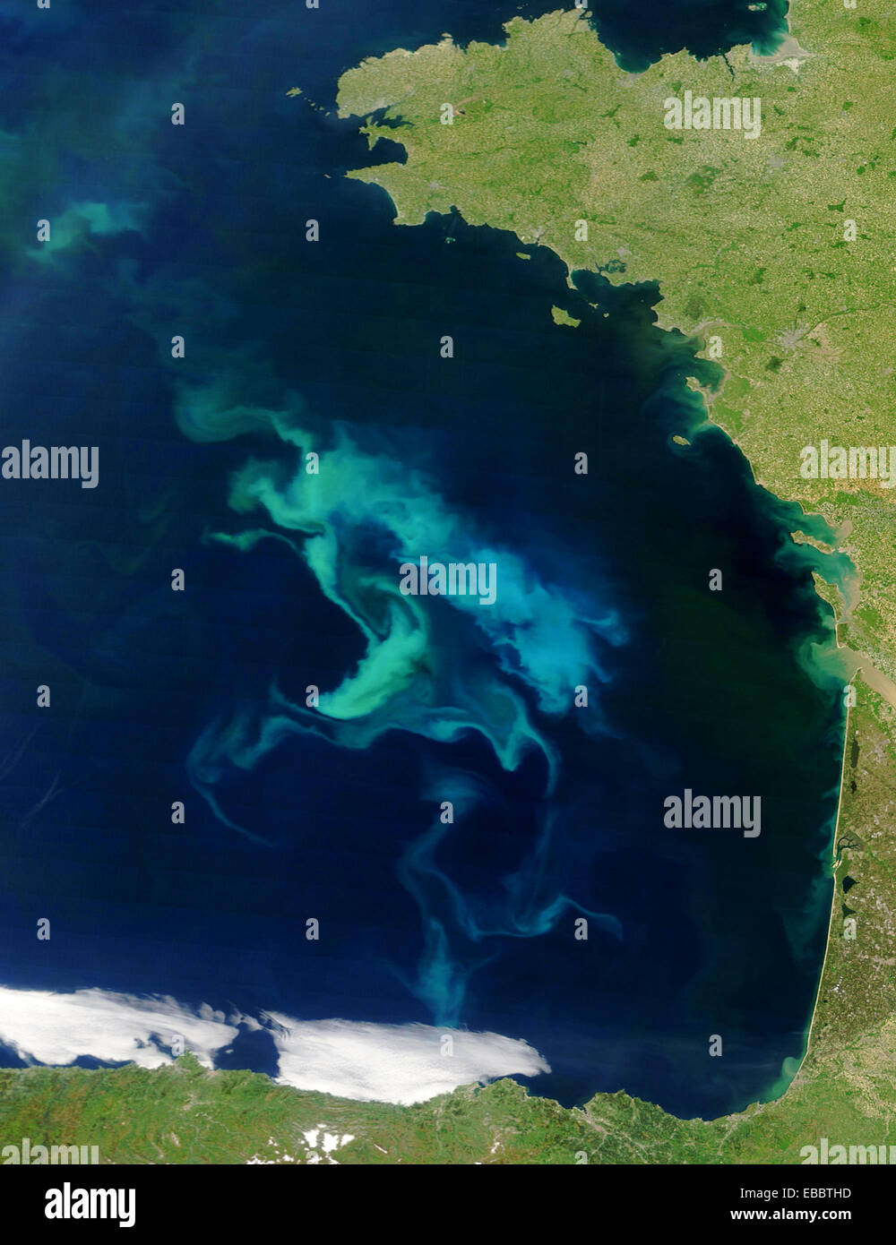 A large phytoplankton bloom in France's Bay of Biscay brought bright swirls of light blue and turquoise to the surface - Stock Image