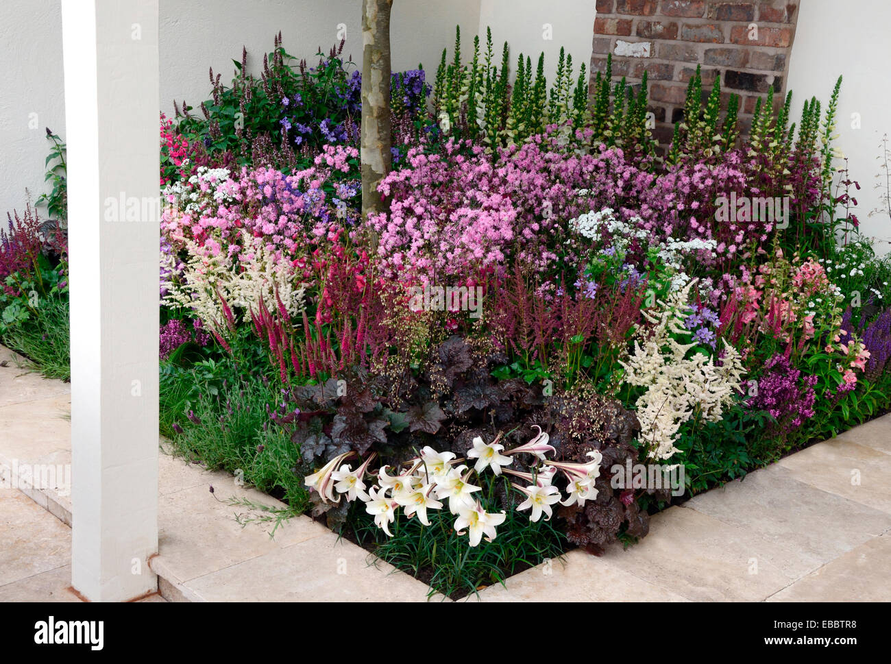 A full and colourful flower border in a contemporary garden Stock
