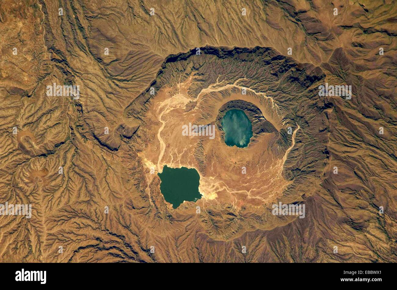 Deriba Caldera, a cauldron-like volcanic feature usually formed by the collapse of land following a volcanic eruption, - Stock Image