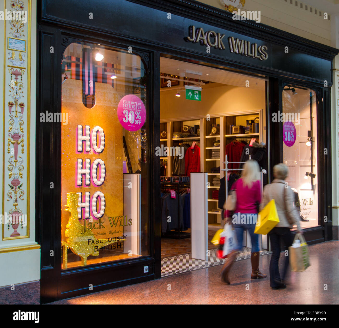 Trafford Centre shopping centre in Manchester. Ho Ho Ho 30% off display at Jack Wills store on Black Friday Sales - Stock Image