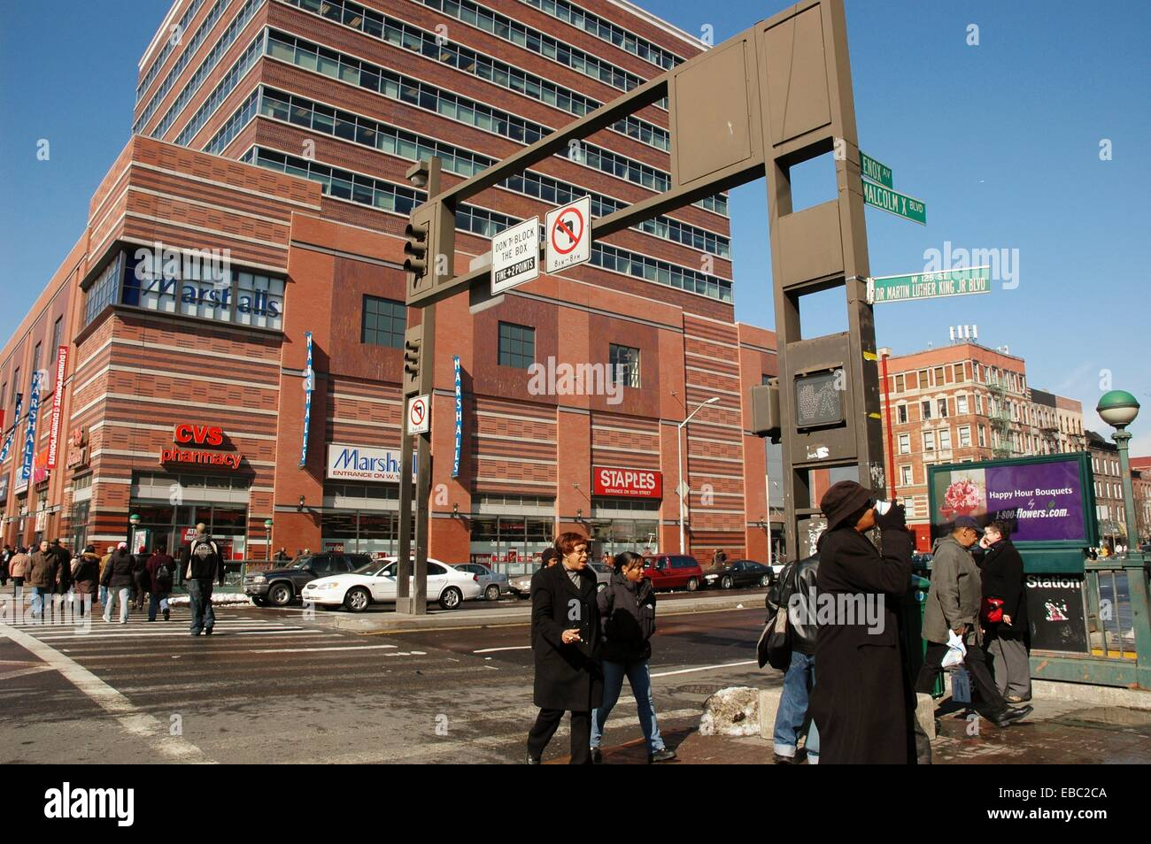 New York City corner of Martin Luther King Boulevard with Malcom X ...