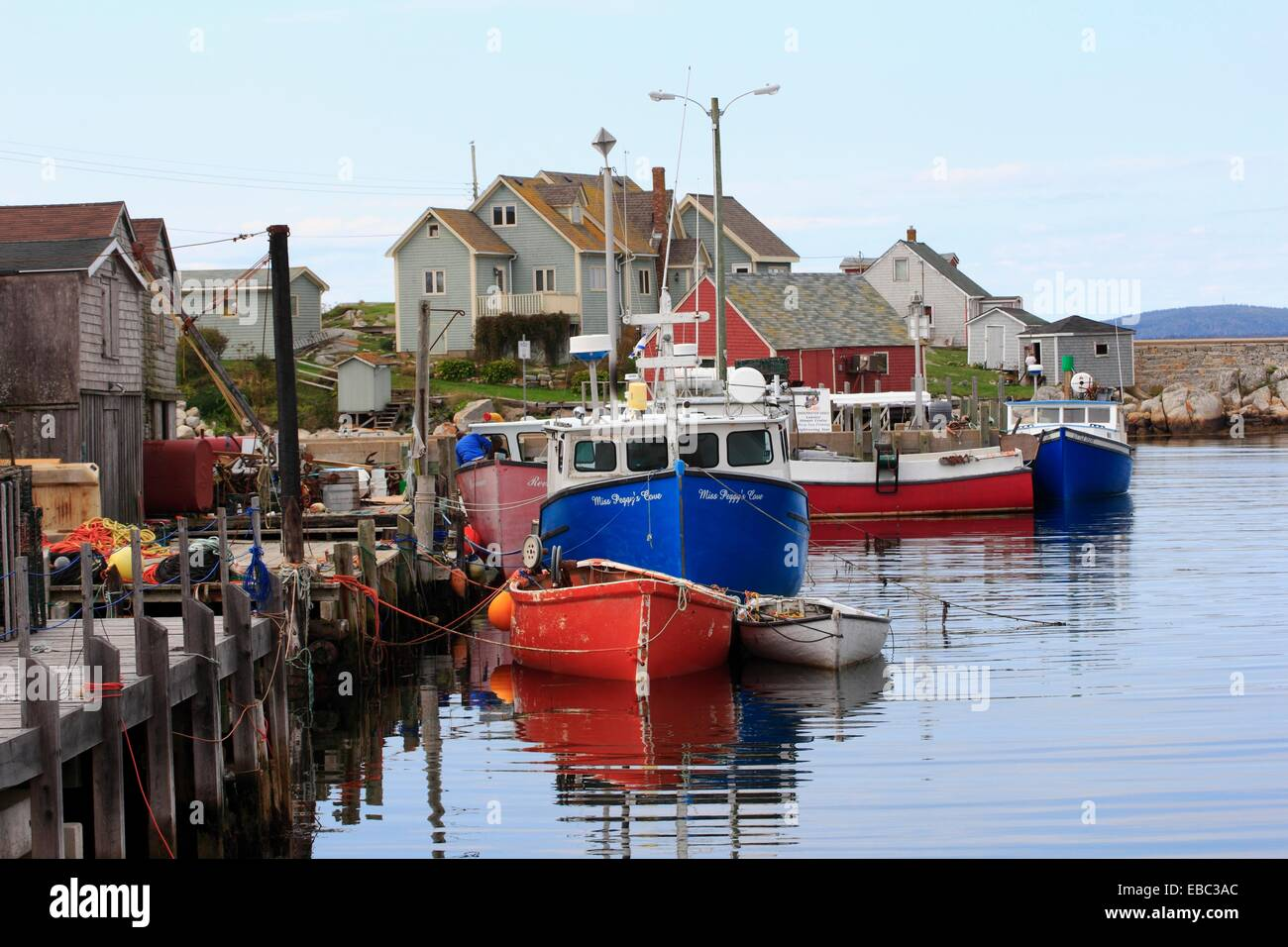wharves and fishing boats in Peggy´s Cove, Nova Scotia,Canada Stock Photo