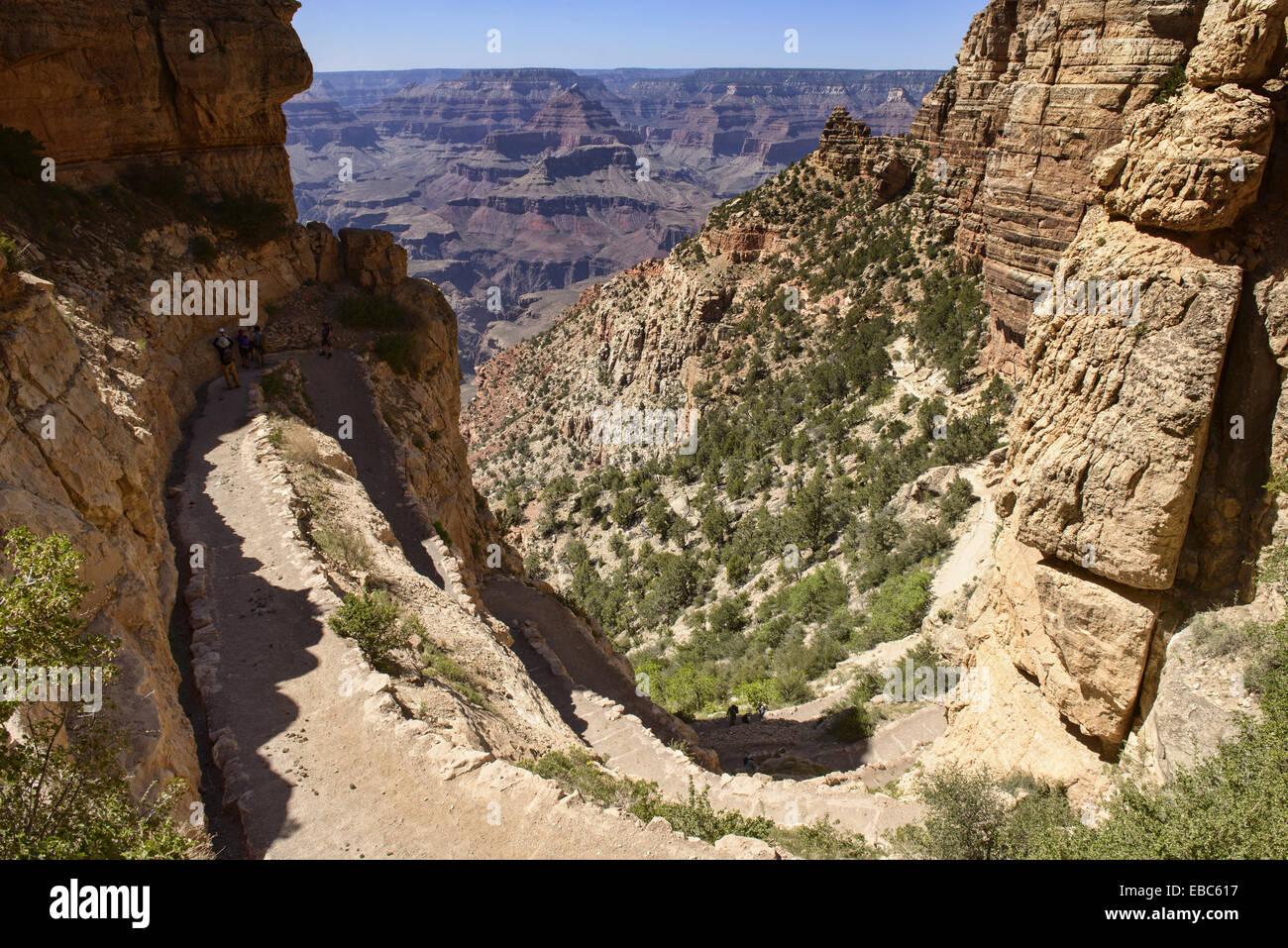 View down the Kaibab Trail, Grand Canyon National Park, Arizona. - Stock Image