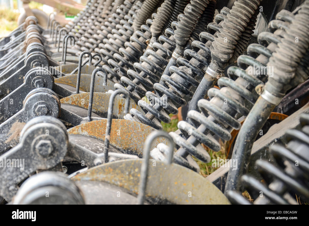 Springs and pistons inside of agricultural machinery in San Ramon, Canelones, Uruguay Stock Photo