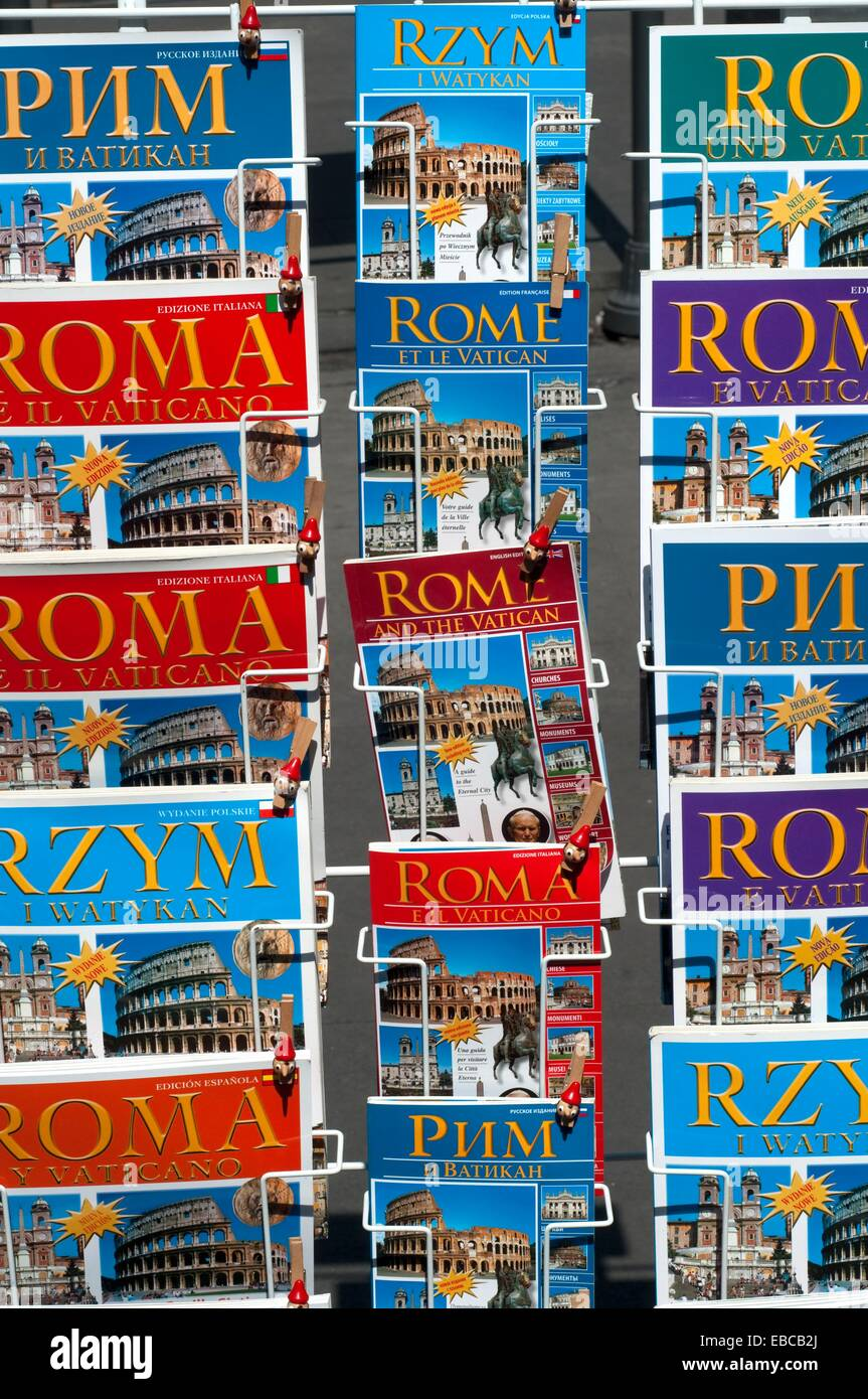 Italy, Lazio, Rome, Guidebooks on Display Outside a Shop Stock Photo