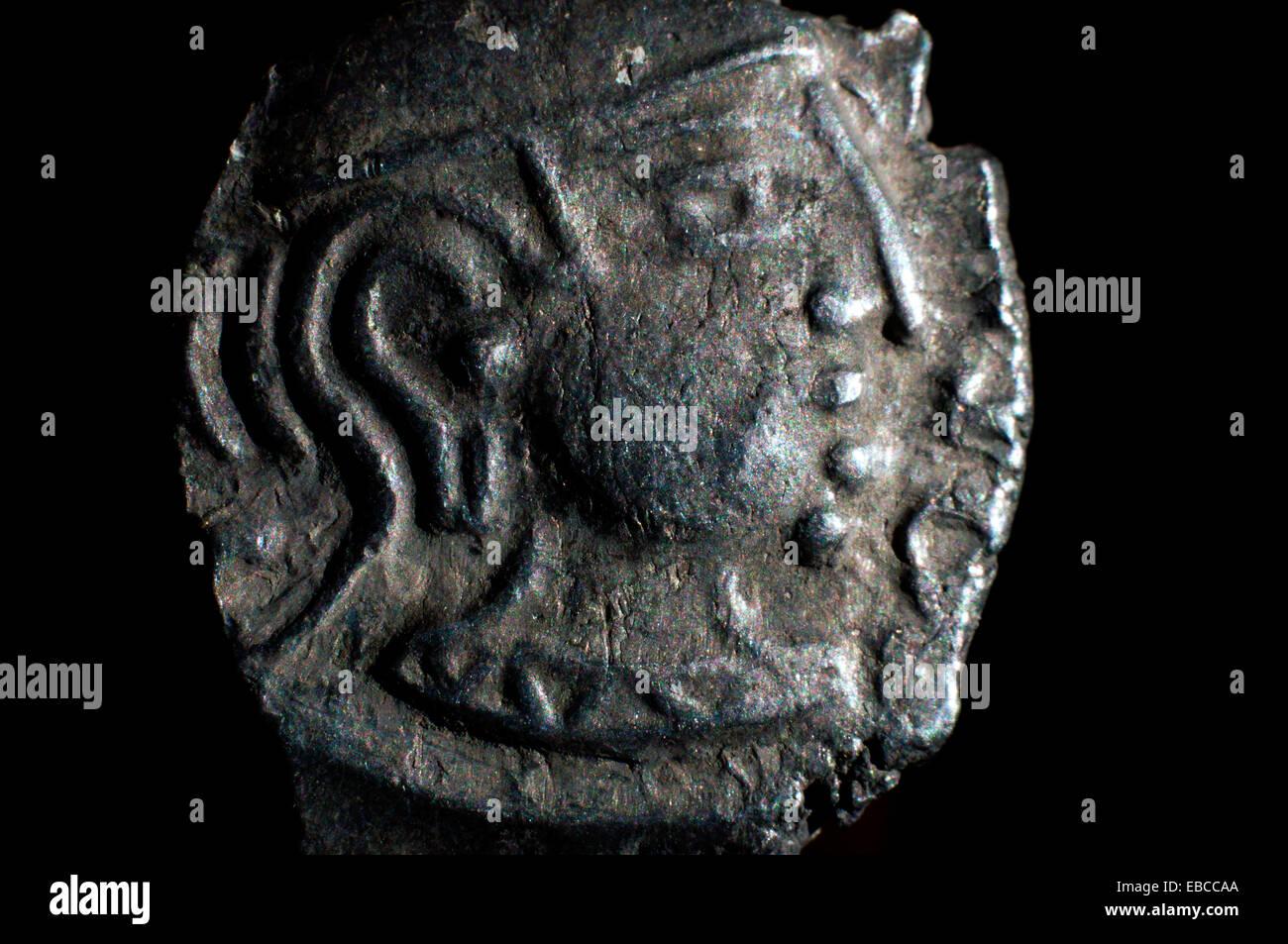 415-455 AD. silver Guptas Kumaragupta coin from India in studio setting. - Stock Image