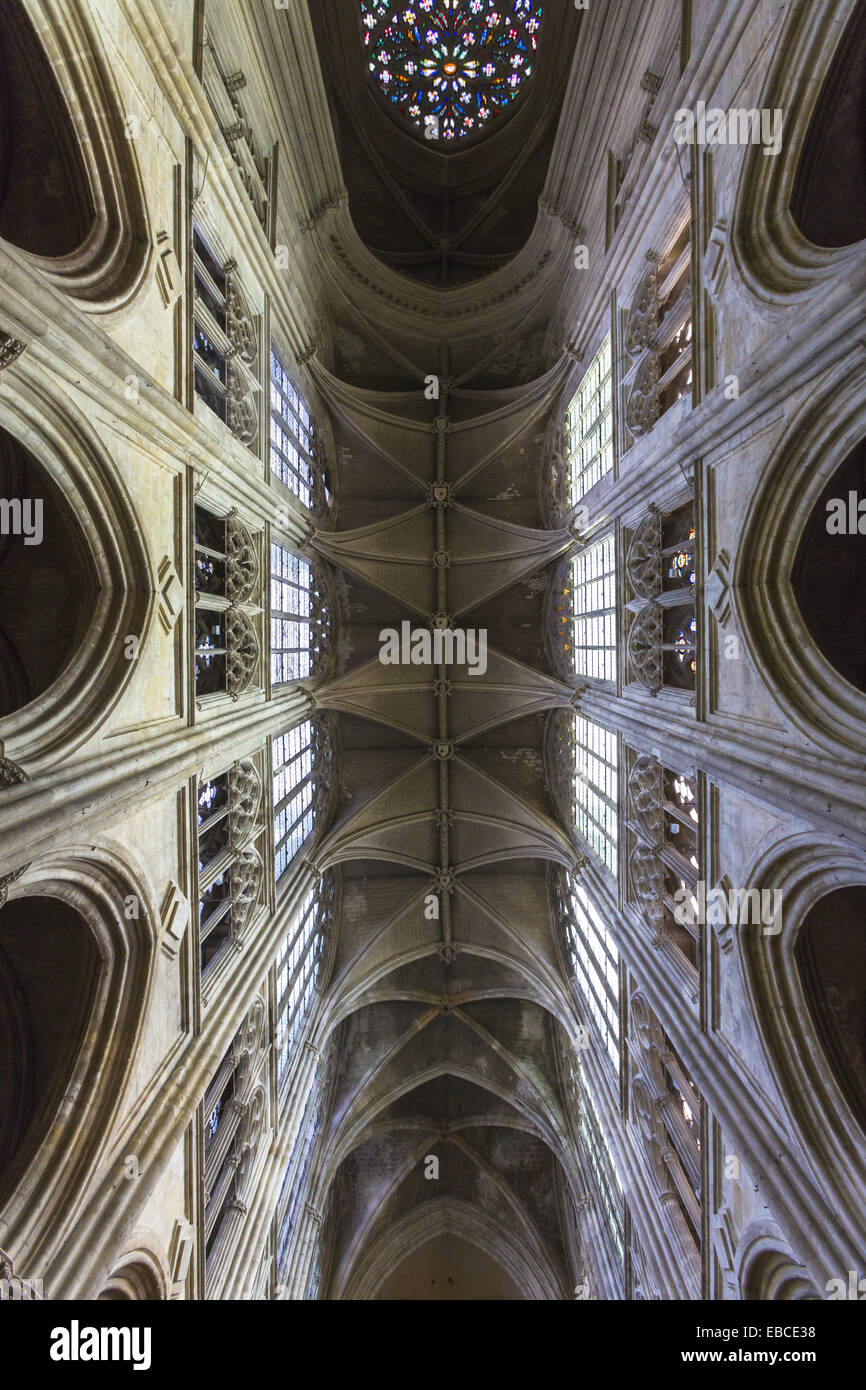 Imposing ceiling of the Saint Gatien´s Cathedral in Tours, Indre-et-Loire, France, Europe - Stock Image