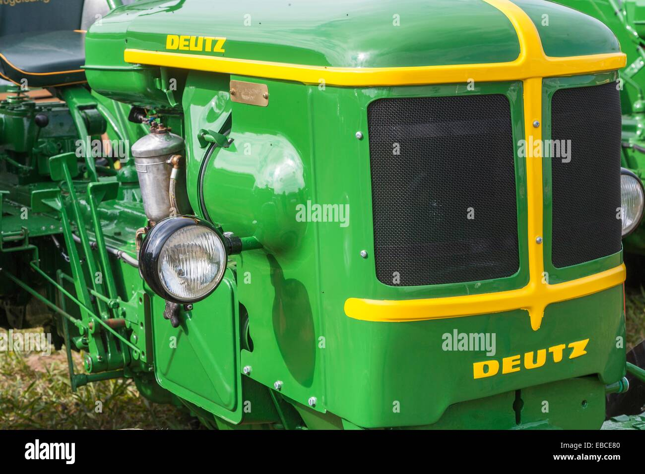 engine cowling of a vintage deutz tractor, germany, europe - stock image