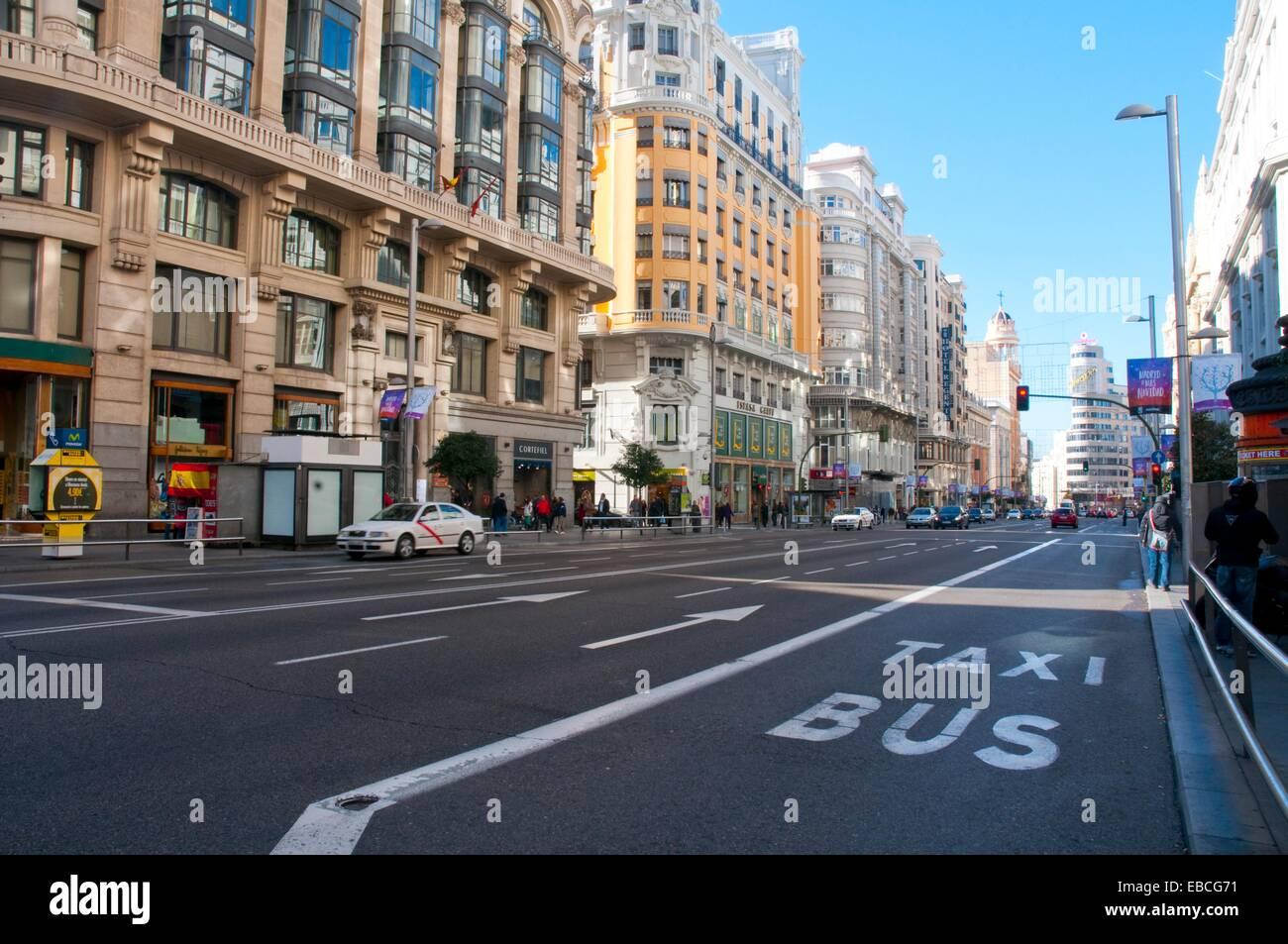 Gran Via. Madrid, Spain. Stock Photo