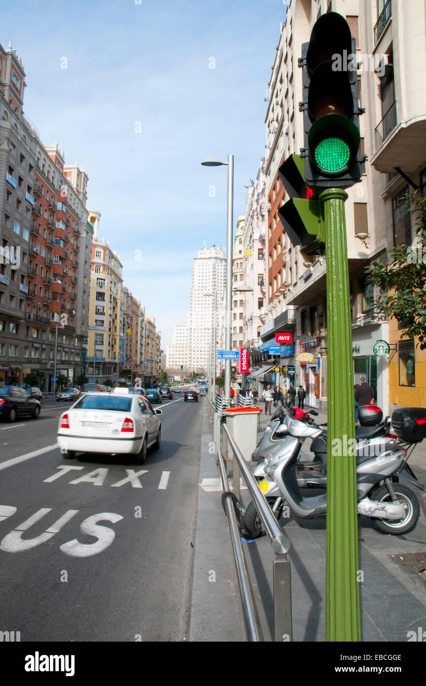 Bus and taxi lane. Gran Via, Madrid, Spain. Stock Photo