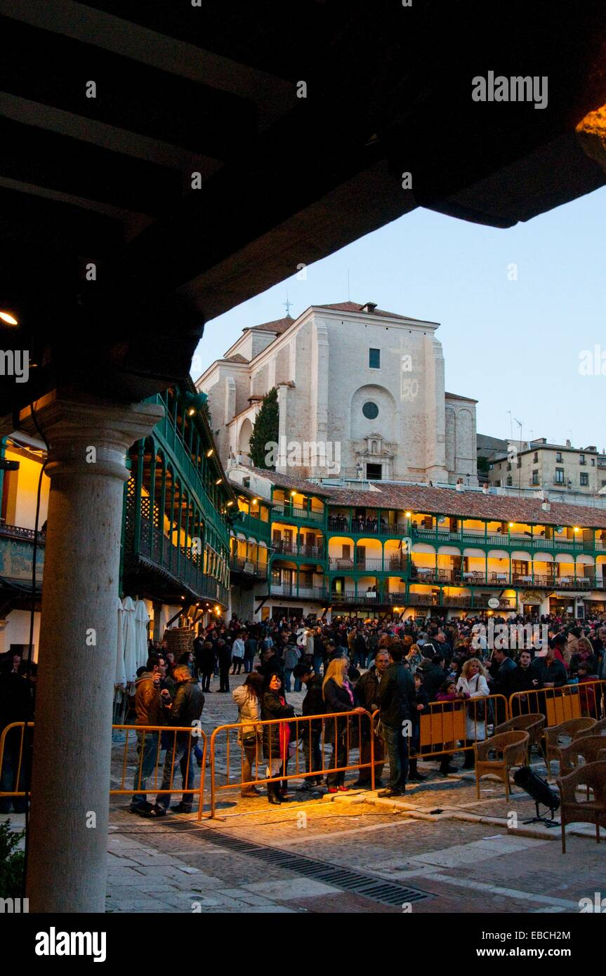 Main Square during the performance of the Passion of Christ (50th Aniversary), night view. Chinchon, Madrid province, Stock Photo