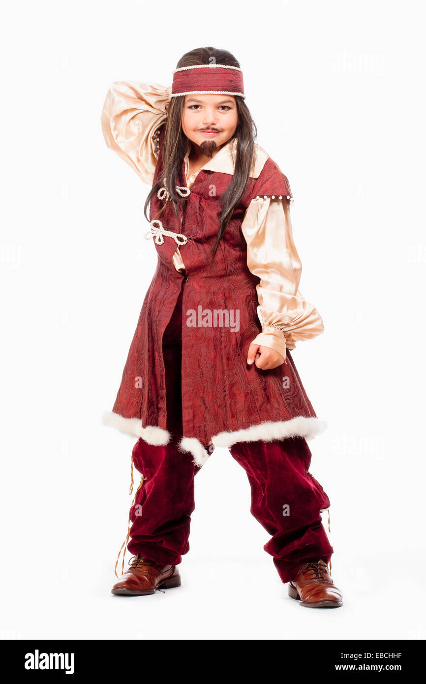 Portrait of a Little Boy in Wig in Pirate Costume - Stock Image