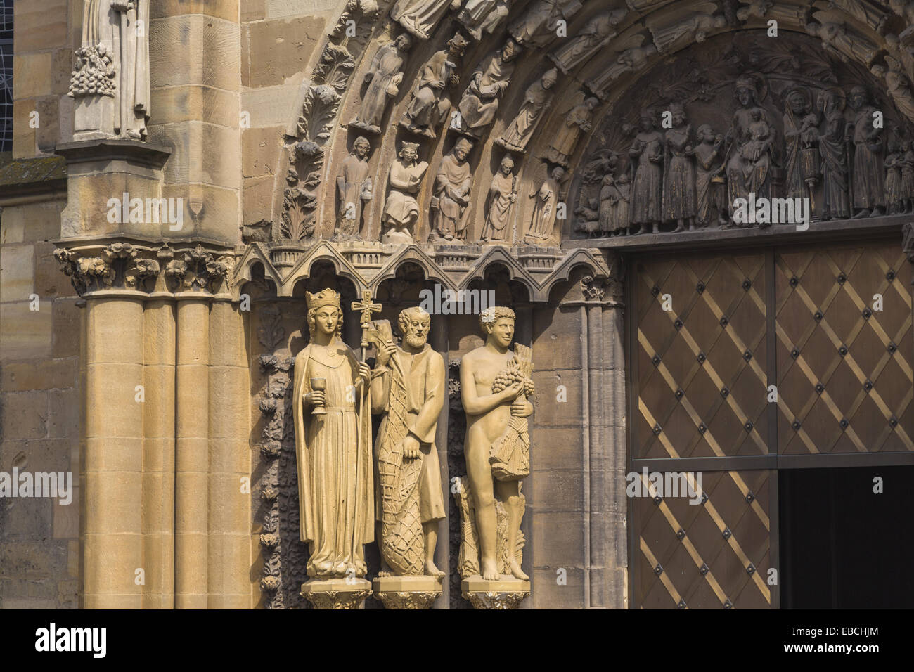 13th century age Aged architecture art belief building Christian Christianity church Church of Our Lady close-up - Stock Image