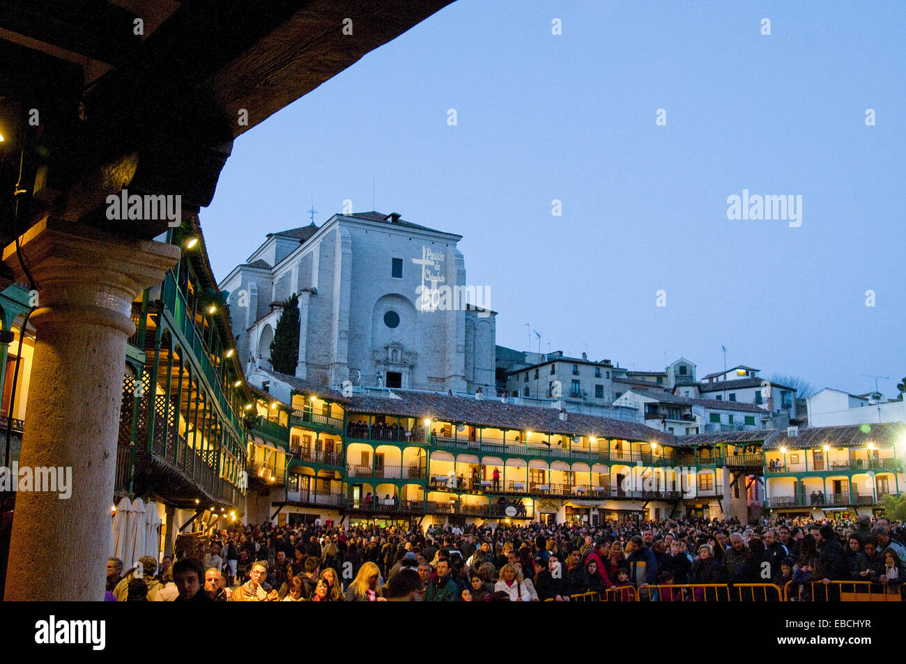 50th anniversary Chinchón color image comunidad Comunidad de Madrid crowd dusk Easter Europe evening event Holy Stock Photo