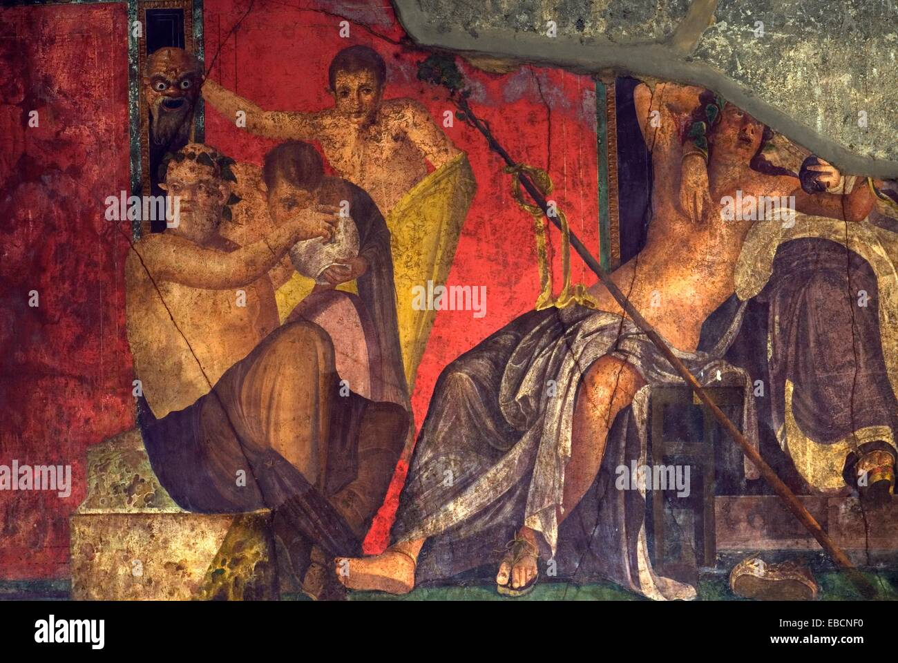 fresco inside the Villa of the Mysteries, archeological site of Pompeii, province of Naples, Campania region, southern - Stock Image