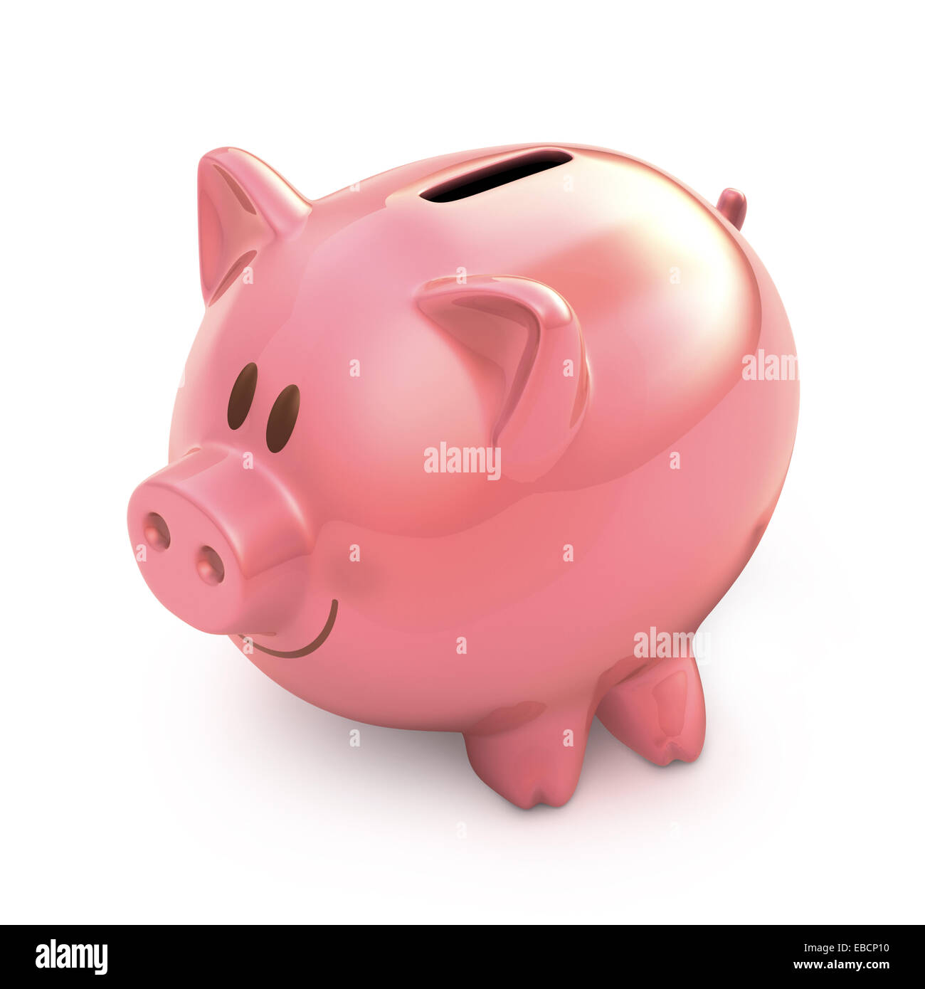 Piggy bank on white background with clipping path included. - Stock Image