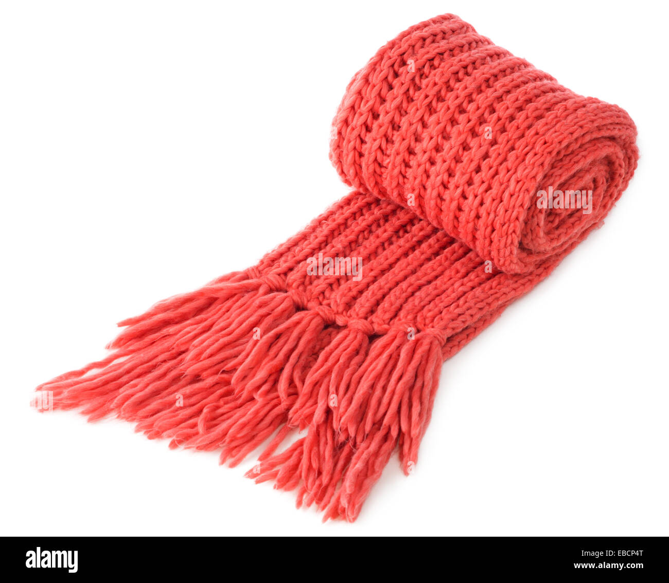 Red warm wool scarf isolated on white background - Stock Image