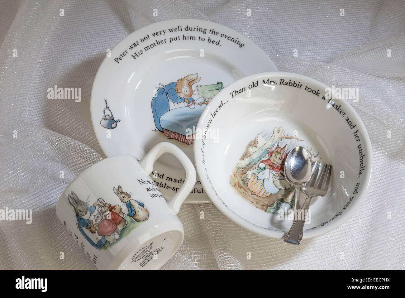 Still Life Vintage Wedgwood China Childu0027s Dining Set Beatrix Potteru0027s Peter Rabbit & Still Life Vintage Wedgwood China Childu0027s Dining Set Beatrix Stock ...