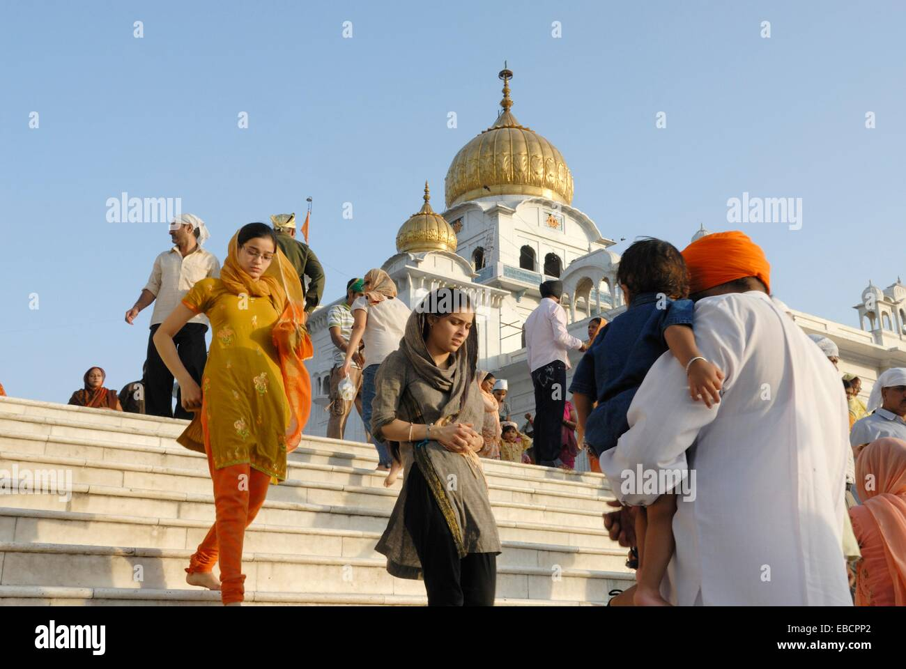 Gurudwara Bangla Sahib the most prominent Sikh gurdwara or Sikh house of worship in Delhi India Asia - Stock Image