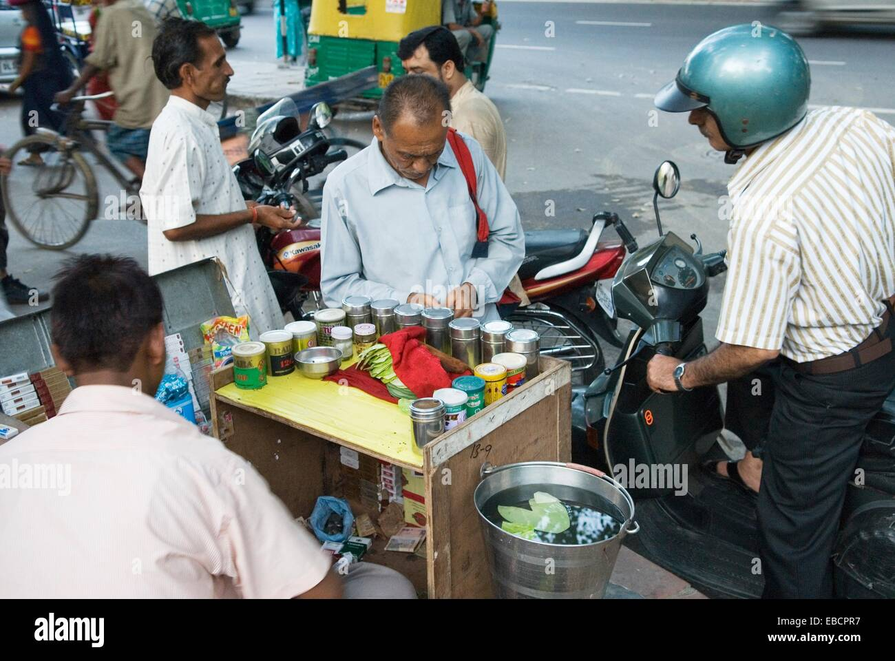paan betel leaf vendor in a street of Delhi India Asia - Stock Image