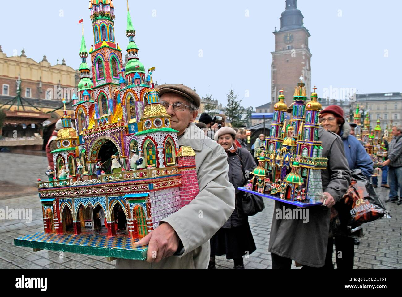A Competition And Annual Exhibition Of Christmas Cribs Stand On The Main Market Square Krakow Poland