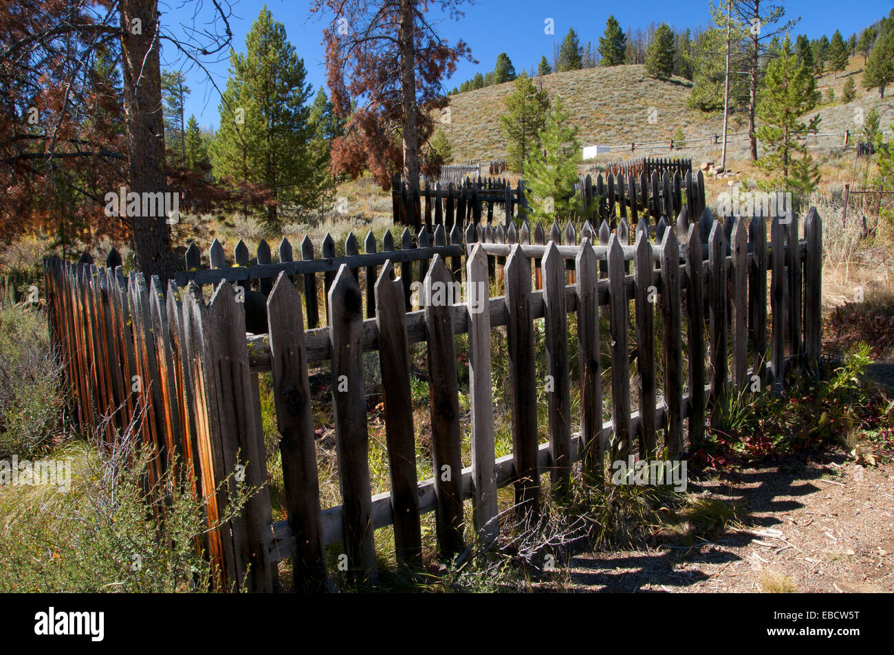 Bonanza Ghost Town cemetery, Land of the Yankee Fork Historic Area, Custer Motorway, Salmon-Challis National Forest, - Stock Image