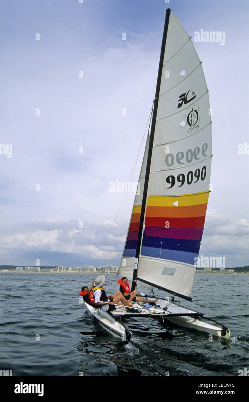 Hobie Cat catamaran sailing school of Hardelot Pas-de-Calais department Nord-Pas-de-Calais region France Europe. - Stock Image