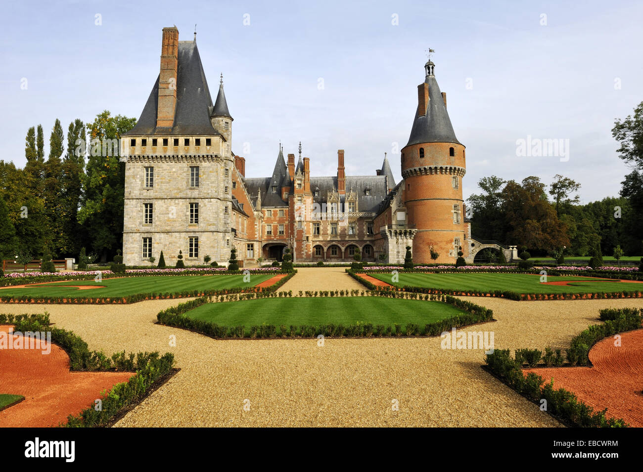 French formal garden style laid out by the master gardener Patrick Pottier according to the plans of Andre Le Notre - Stock Image