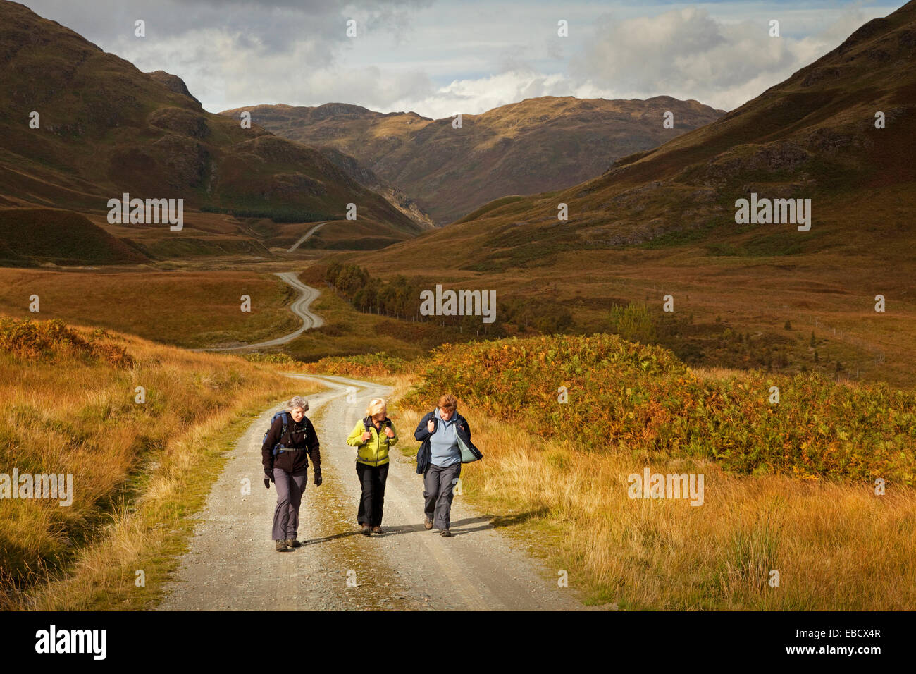 Walkers in Srath a'Ghlinne near Comrie - Stock Image
