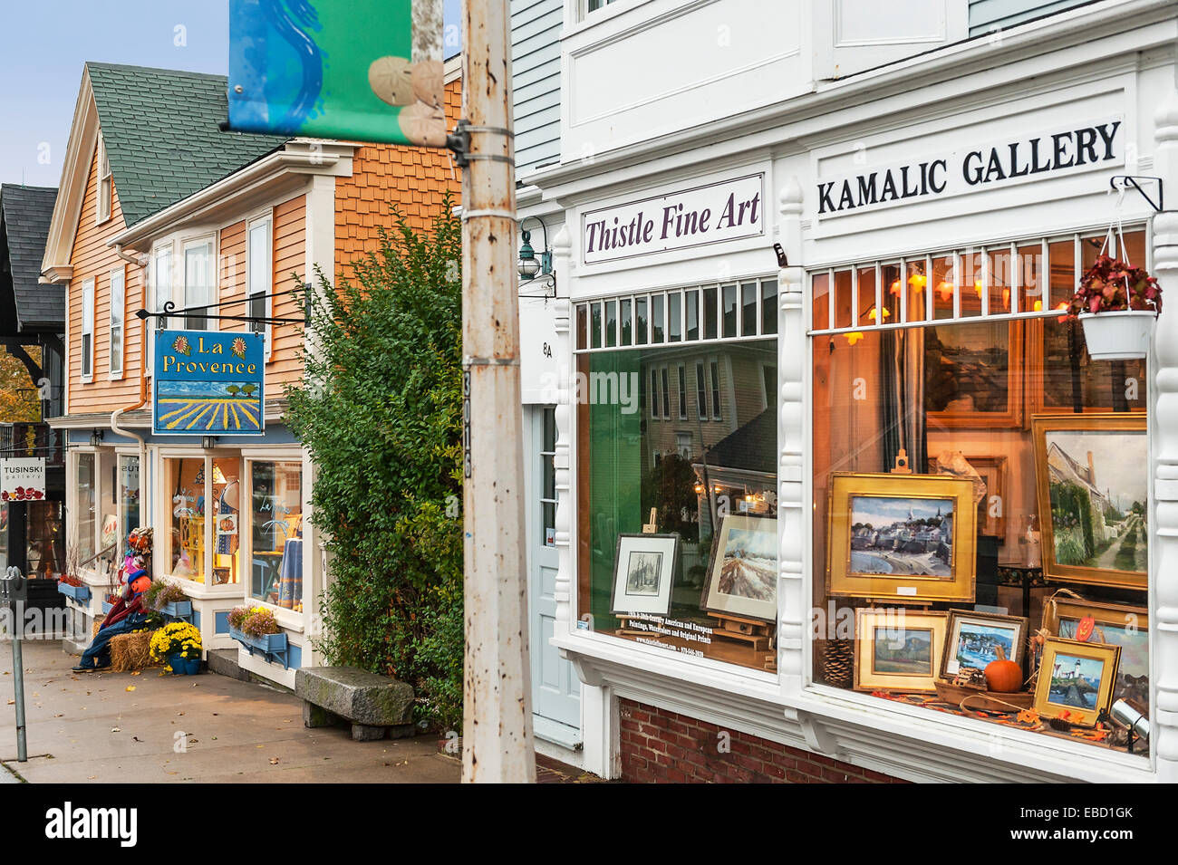 Quaint shops in Rockport, Massachusetts, USA - Stock Image