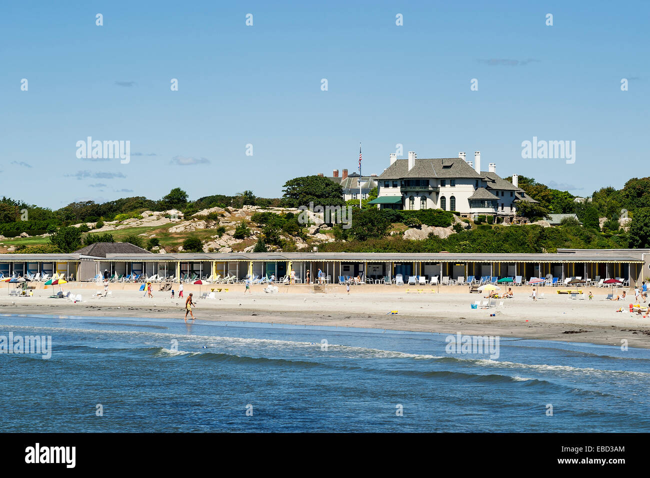 Spouting Rock Beach Association, also known as Bailey's Beach is an elite private beach and club in Newport, - Stock Image