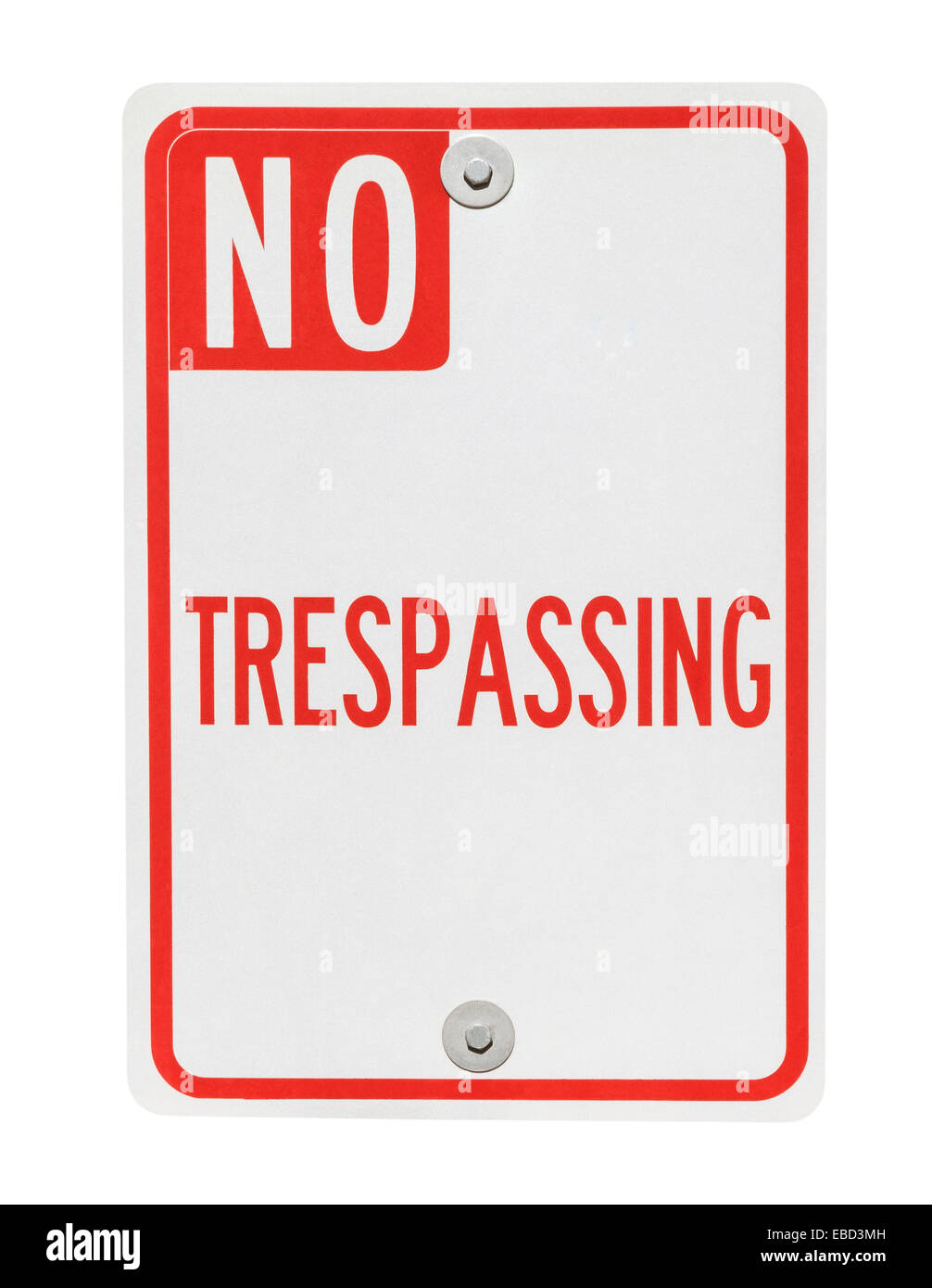 No trespassing sign isolated on white with clipping path. - Stock Image
