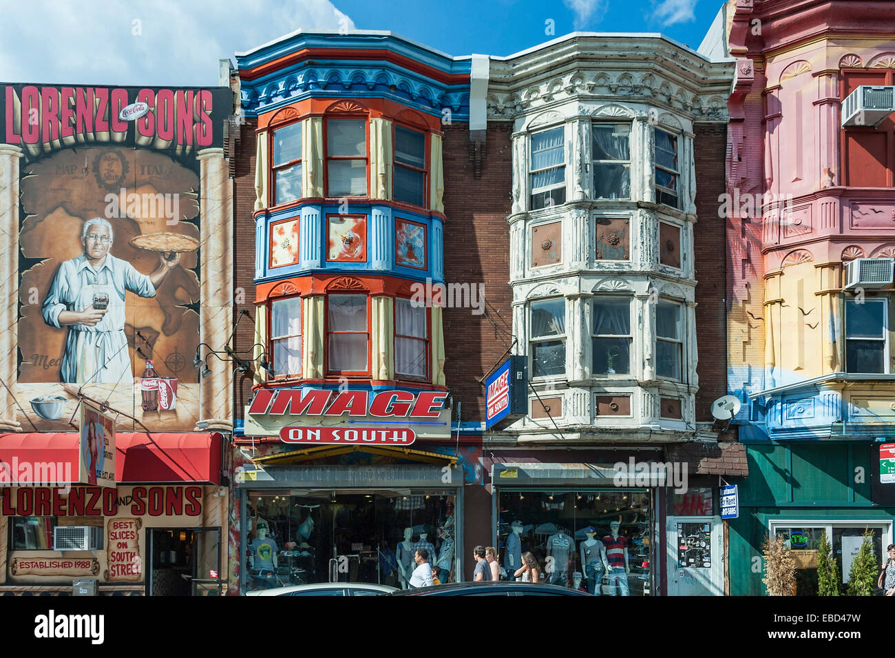 Colorful shop buildings located on South Street, the trendy area of Philadelphia, Pennsylvania, USA - Stock Image